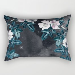 Night Garden Bees Wild Blackberry Rectangular Pillow