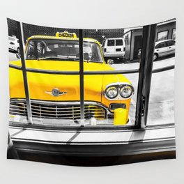 vintage yellow taxi car with black and white background Wall Tapestry