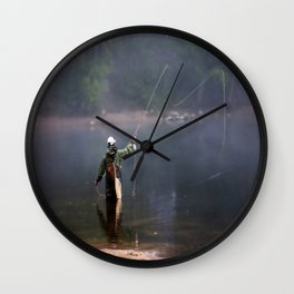 Misted Fly Fishing Wall Clock