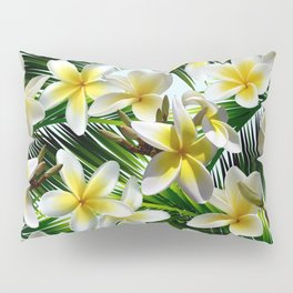Plumeria on Palm Leaves Pillow Sham