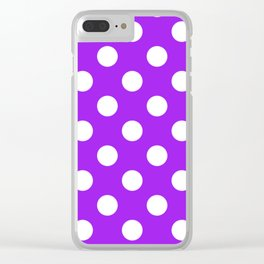Veronica - violet - White Polka Dots - Pois Pattern Clear iPhone Case