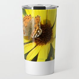 Painted Lady Butterfly Picks Pollen Travel Mug
