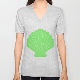 Seashell (Light Green & White) Unisex V-Neck