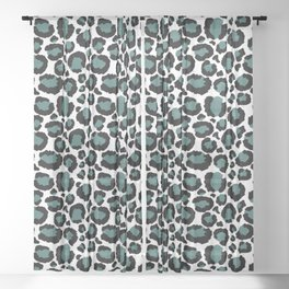 Teal Leopard Animal Print Pattern Sheer Curtain