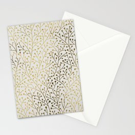 Gold Berry Branches Stationery Cards