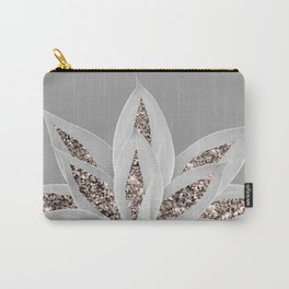 Gray Agave with Rose Gold Glitter #1 #shiny #tropical #decor #art #society6 Carry-All Pouch