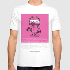Ze Robot, Pink :) White Mens Fitted Tee MEDIUM