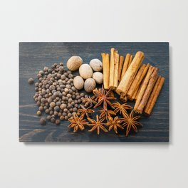 Whole Spices on a Dark Wood Background Metal Print