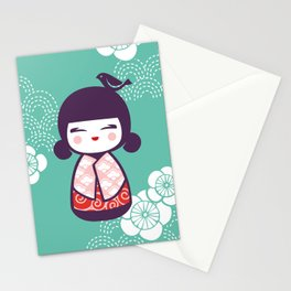 Japanese Doll in Green Stationery Cards
