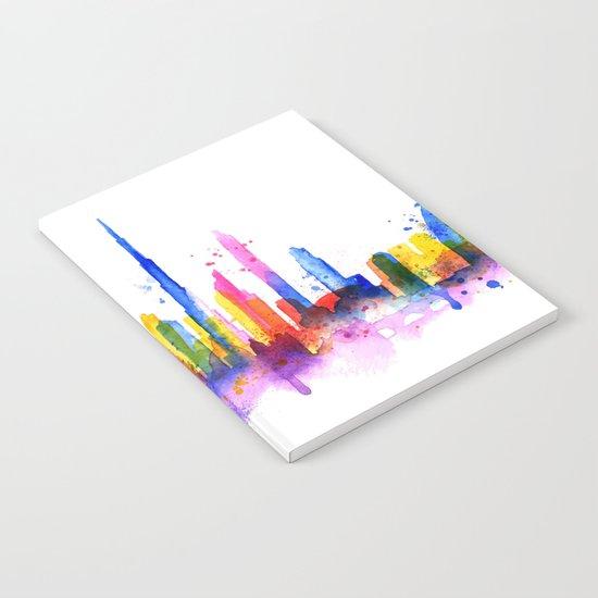 Color Dubai Skyline on White Notebook