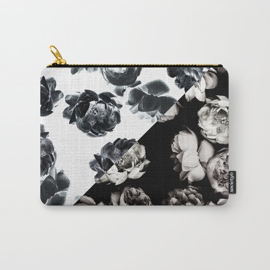 Black & White Floral Pattern Carry-All Pouch