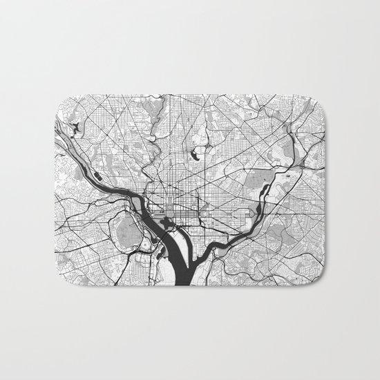 Washington Map Gray Bath Mat