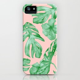 Island Life Coral Pink + Green iPhone Case