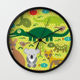 Animals Australia snake, turtle, crocodile, alliagtor, kangaroo, dingo Wall Clock