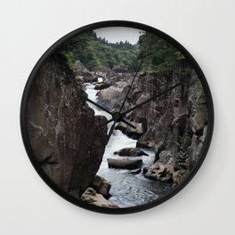Riverside Cliffs of Geibikei Gorge in Japan Wall Clock