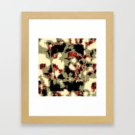 vintage psychedelic geometric painting texture abstract in red brown black Framed Art Print