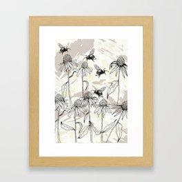 Buzzing bees - neutral Framed Art Print