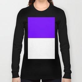 White and Indigo Violet Horizontal Halves Long Sleeve T-shirt