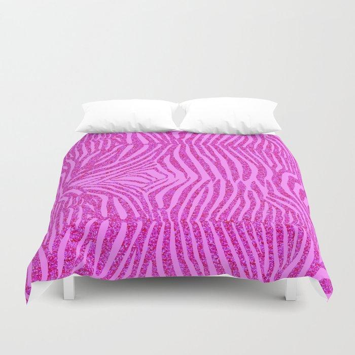Light Pink Glitter Zebra Print Duvet Cover