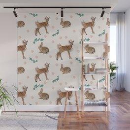 Deer with rabbit Wall Mural