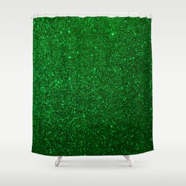 Christmas Evergreen Green Sparkly Glitter Shower Curtain