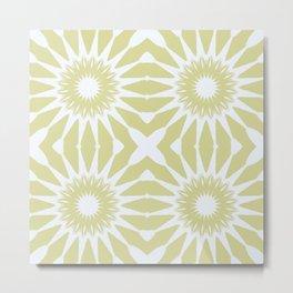 Beige & White Flowers Metal Print