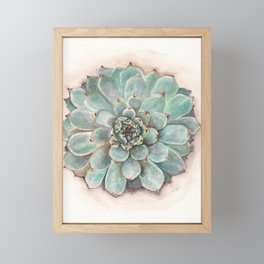 Soft Green Succulent flower Rosette_gouache painting_hand painted Framed Mini Art Print