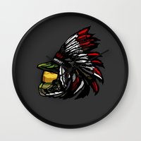 master chief Wall Clocks featuring The Chief by Figgy