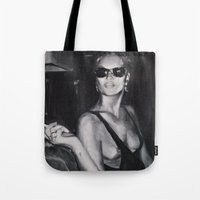 kate moss Tote Bags featuring Kate Moss Painting  by Beth Zimmerman Illustration