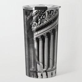 Wall Street, Stock Exchange, New York, New York black and white photograph Travel Mug