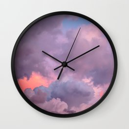 Pink and Lavender Clouds Wall Clock