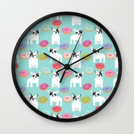 French Bulldog cute mint pastel cute donuts sweet treat doughnuts junk food dessert foods and dogs Wall Clock