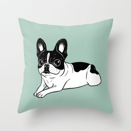 Double Hooded Pied Frenchie Throw Pillow
