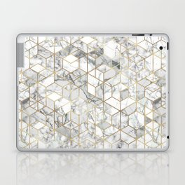 White marble geomeric pattern in gold frame Laptop & iPad Skin