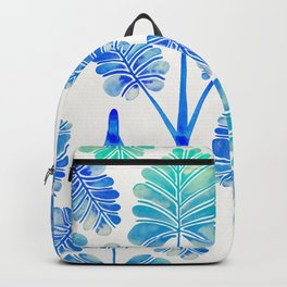 Tropical Palm Leaf Trifecta – Blue Ombré Palette Backpack