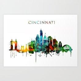 Colorful Cincinnati skyline Art Print