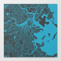 boston map Canvas Prints featuring Boston map by Map Map Maps