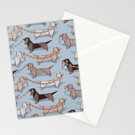 Origami Dachshunds sausage dogs // pale blue background Stationery Cards