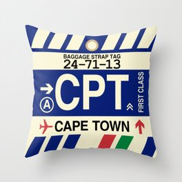 CPT Cape Town • Airport Code and Vintage Baggage Tag Design Throw Pillow