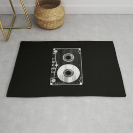 Black and White Retro 80's Cassette Vintage Eighties Technology Art Print Wall Decor from 1980's Rug