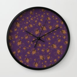 Adorable bats for Halloween (Purple) Wall Clock