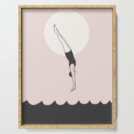 Diver in pink Serving Tray