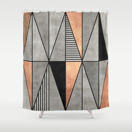 Concrete and Copper Triangles Shower Curtain