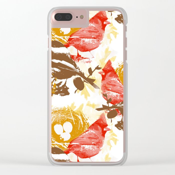 Cardinal Chickadee Pattern Clear iPhone Case