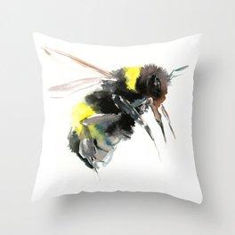 Bumblebee, bee art flying bee design honey bee wildlife Throw Pillow