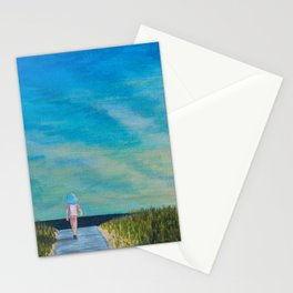 Walking to the Beach Stationery Cards