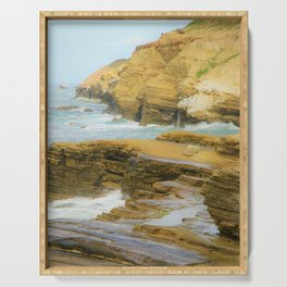 Coastal California Cliffs  by Reay of Light Photography Serving Tray