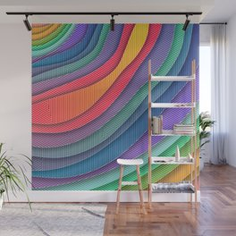 Colorful Abstract Waves and Stripes Wall Mural