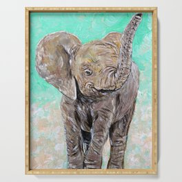 Baby Elephant Painting Serving Tray