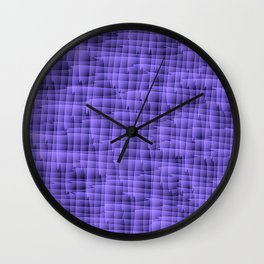 Square pastel curved stripes with interweaving of the bark of a blue tree trunk. Wall Clock